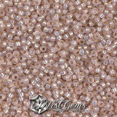 Miyuki Rocailles RR8/0-0579 Dyed Smoky Light Rose Silver Lined Alabaster