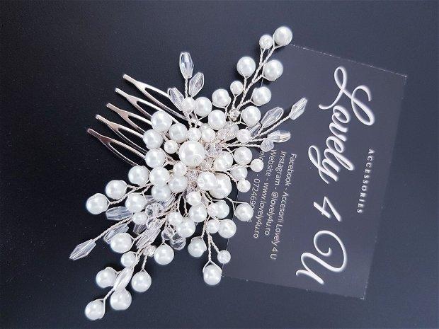 Ivy Accesoriu cu perle albe și fir placat cu argint 925