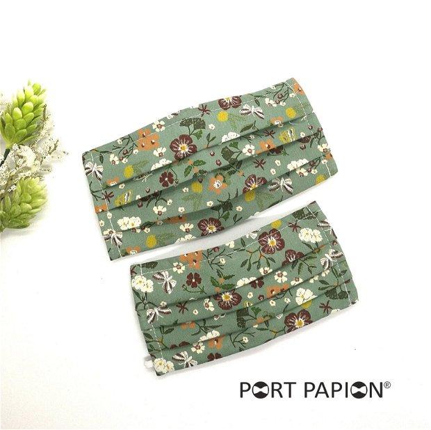 Masca din bumbac imprimeu verde cu floricele vintage
