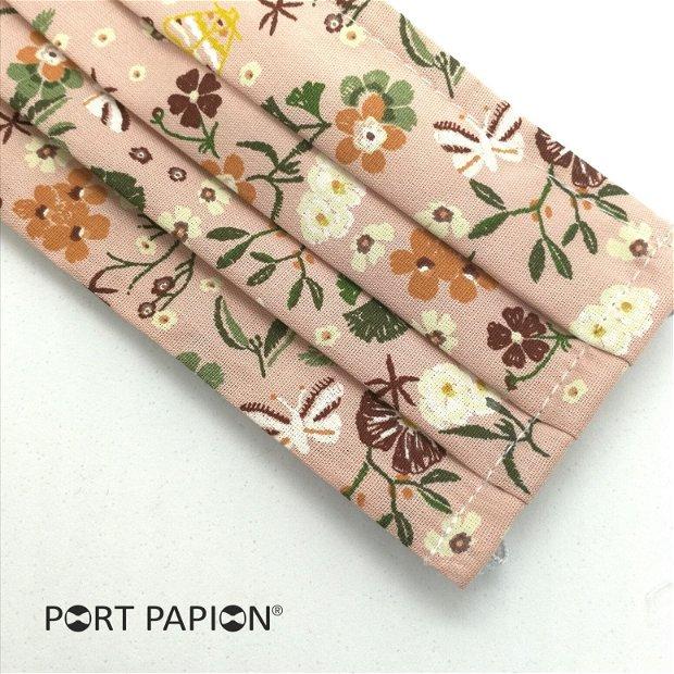 Masca din bumbac roz cu floricele vintage