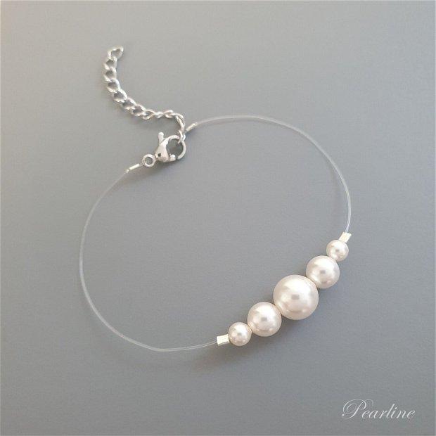 Bratara discreta cu perle Swarovski Crescendo