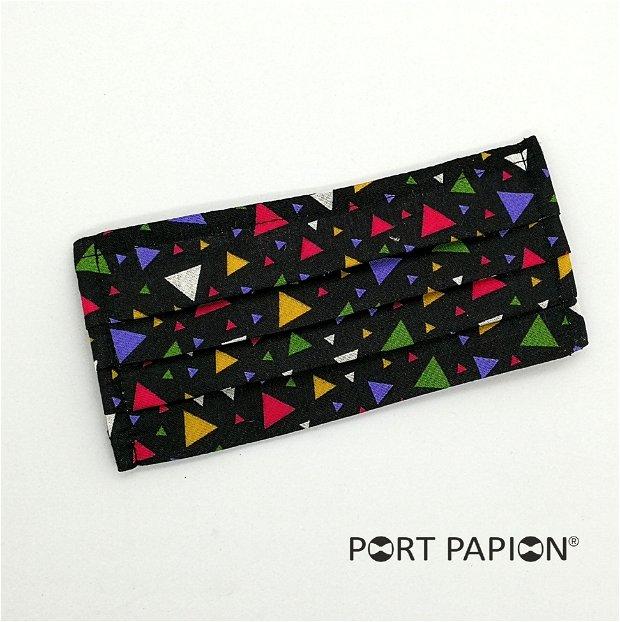 Masca din bumbac imprimeu negru cu triunghiuri colorate