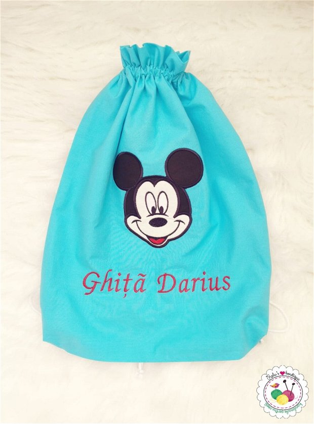 Saculet gradinita personalizat turcoaz - Mickey Mouse