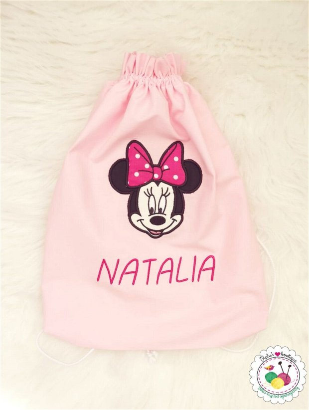 Saculet gradinita personalizat - Minnie roz