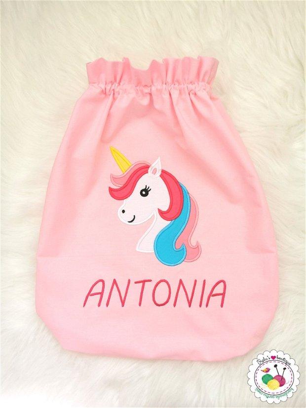 Saculet gradinita personalizat unicorn