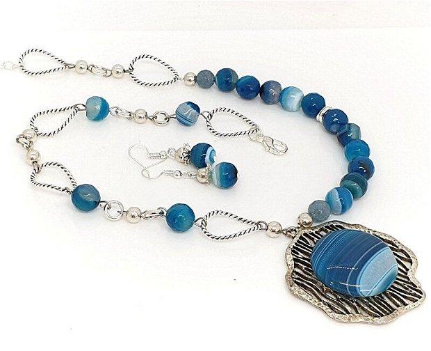 Set/colier si cercei/blue agat