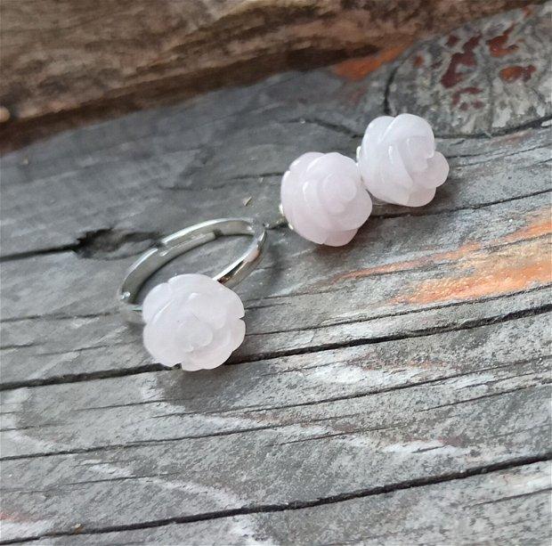Set inel si cercei din argint 925 si cuarț roz natural