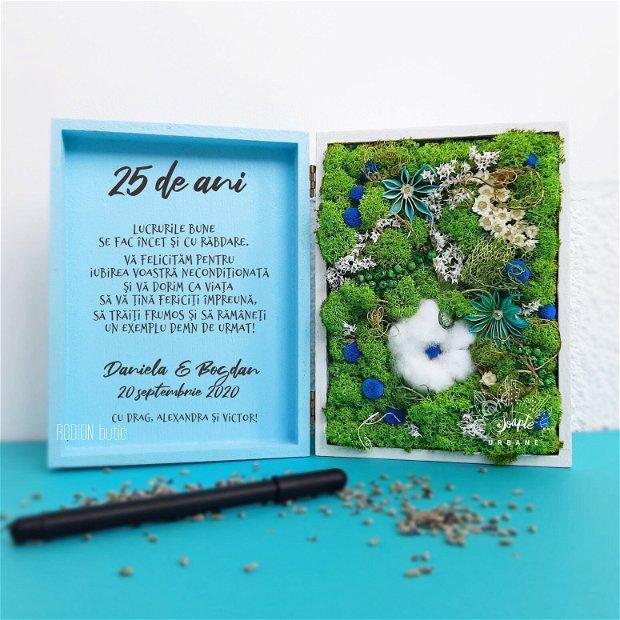 Aranjament cu licheni nunta de argint personalizat cu mesaj