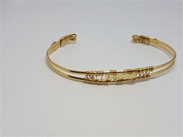 Bratara din aur filat , bratara cu opal etiopian,Bratara handmade.