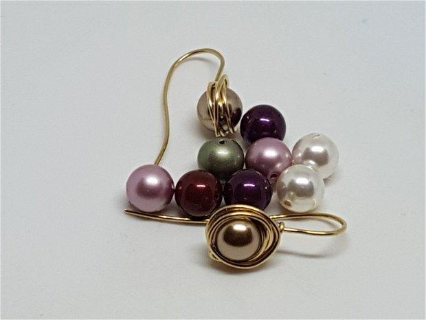 Cercei din aur filat,Cercei cu perle swarovski,cercei handmade