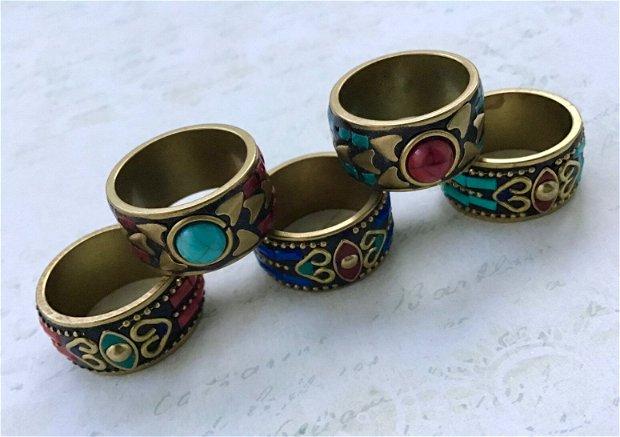 Inele Nepalez turcoaz & coral & lapis lazuli