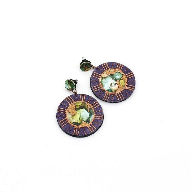 Cercei Disc Violet si Auriu Cu Stud