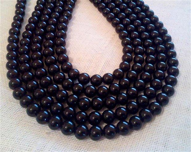 Onix negru natural, aprox 6 mm, 39 cm