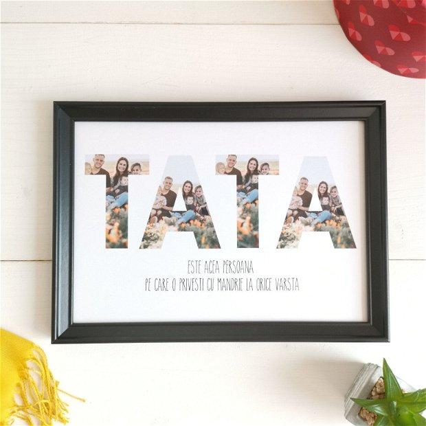 TATA | Tablou poster personalizat pentru tata | Rama foto decorativa