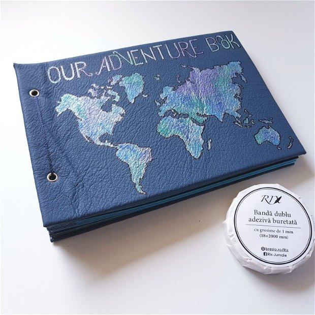 Album Foto Albastru - Our Adventure Book - cu coperta din piele
