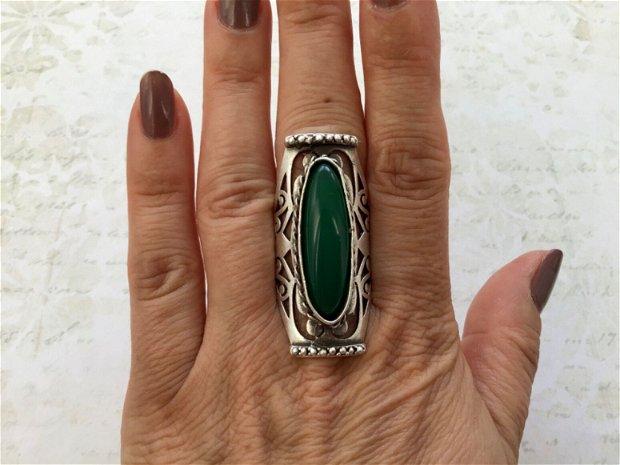 Inel zamac argintat & jad verde