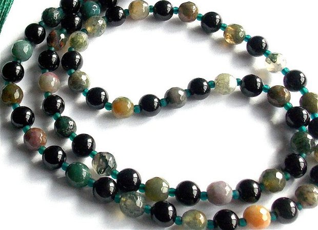 Colier Mala*108+1*Onix+Agate indiene*Colier pentru meditatie si rugaciune