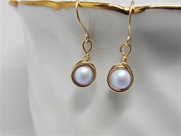Cercei din aur filat, Cercei cu perle swarovski,Cercei handmade.