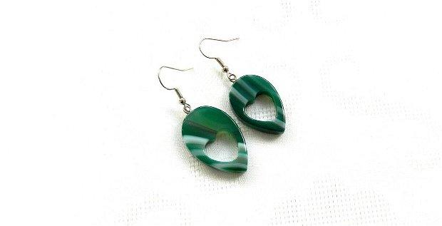 Set colier cu pandantiv şi cercei lacrimi din agat verde