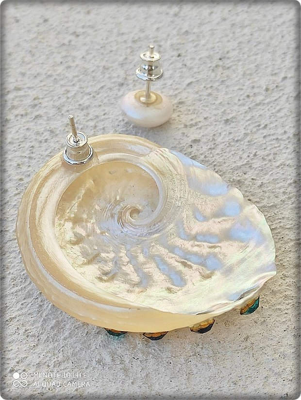 Cercei Scoica cu 5 cristale, montati pe argint 925 - mov