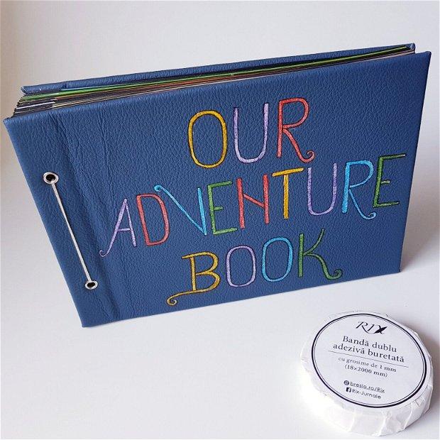 Album Foto - Our Adventure Book - cu coperta din piele albastră