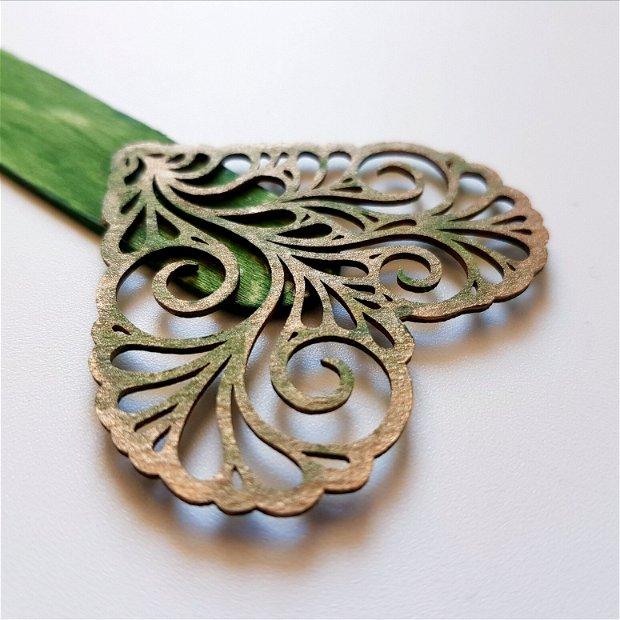 INIMĂ dantelată verde-auriu - Semn de carte din lemn, pictat manual