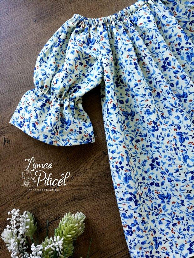 Rochita pentru fetite imprimeu blue floral