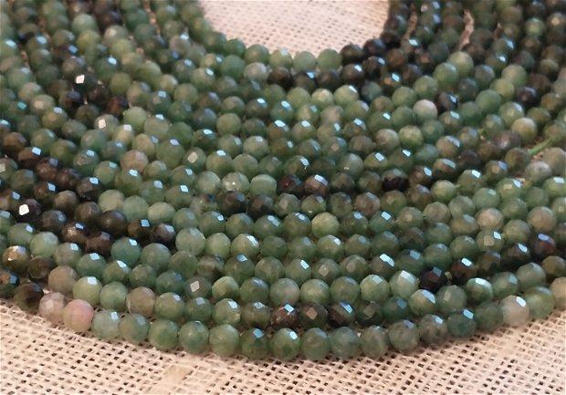 Turmalină verde, 3,3 mm 1 fir