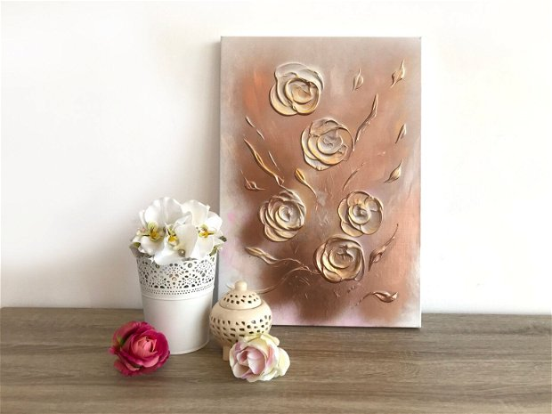 Tablou floral 3D, Pictura Flori pe lemn, Tablou Modern, Unicat