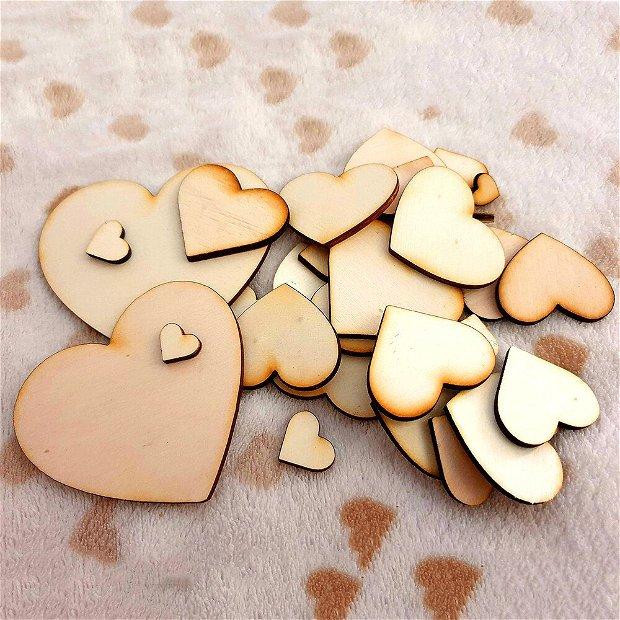 Inimi din lemn - Pachet Blank 1-7 cm (30, 50, 100 bucati)