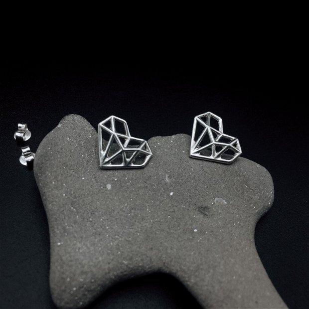 Cercei Origami Heart - cercei inima origami - cercei din argint 925