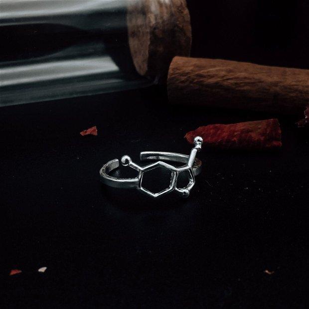 Inel din argint molecula Serotoninei - molecula fericirii