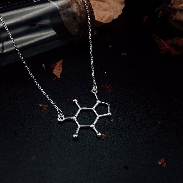 Colier din argint molecula cofeina (caffeine)
