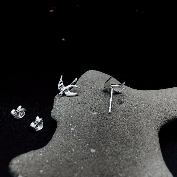 """Cercei """"Birds Flying High"""" din argint - cercei păsări"""