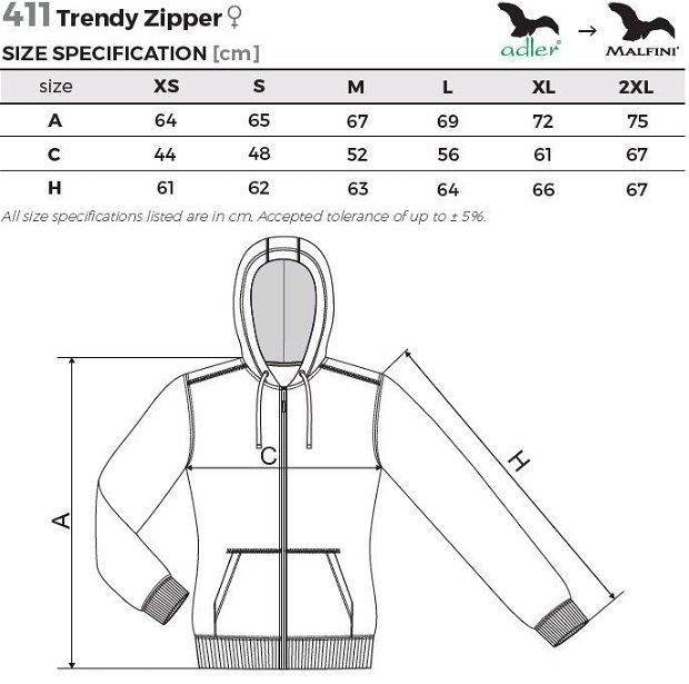 Hanorac turcoaz pentru dama, Trendy Zipper