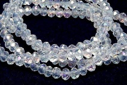 Cristale din sticla, rondelle, 4x3 mm, AB