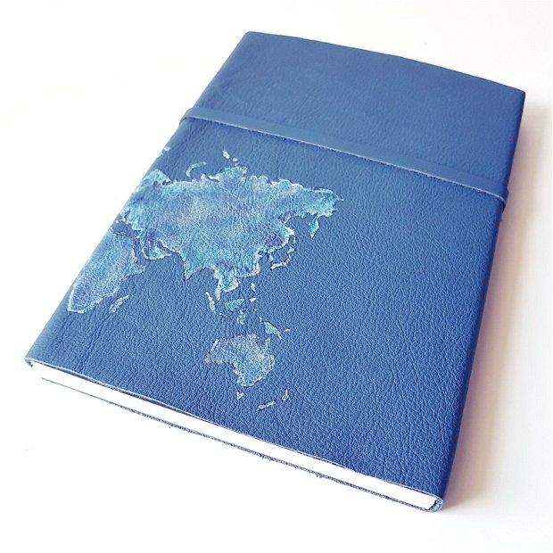 Jurnal (mare) de călătorie cu harta lumii -ALBASTRU- Jurnal de călătorie cu copertă de piele naturală albastră