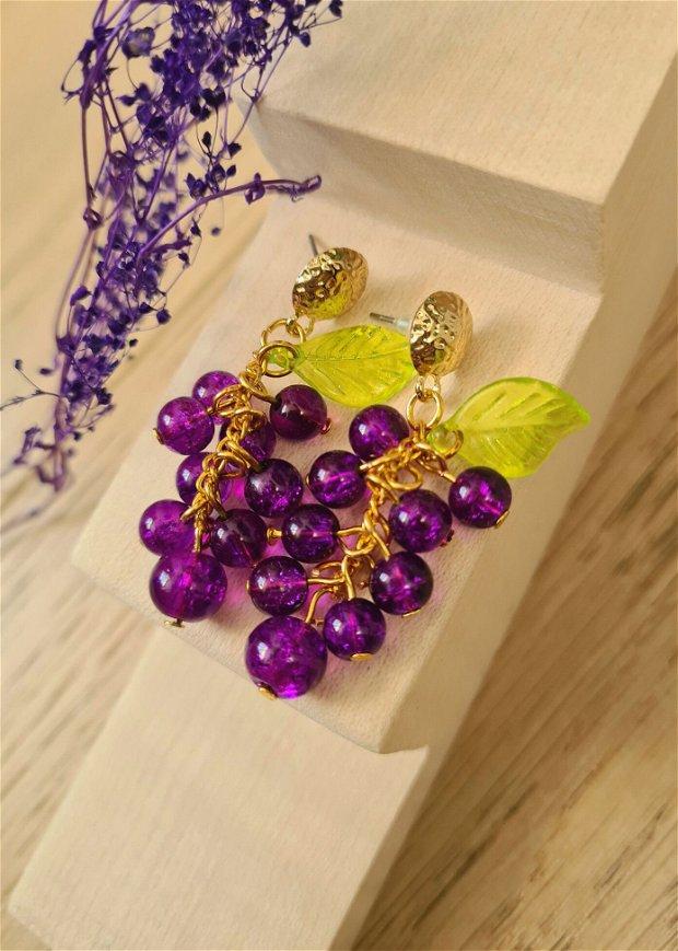 Cercei ciorchine violet