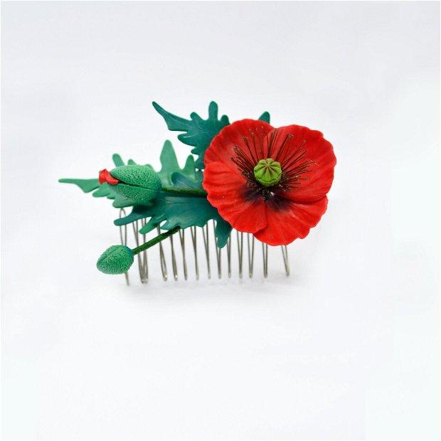 Pieptene de păr  floare de mac