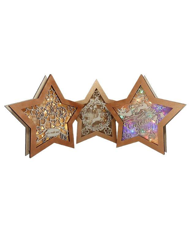 Ornament Crăciun steluță cu ghirlandă luminoasă multicoloră