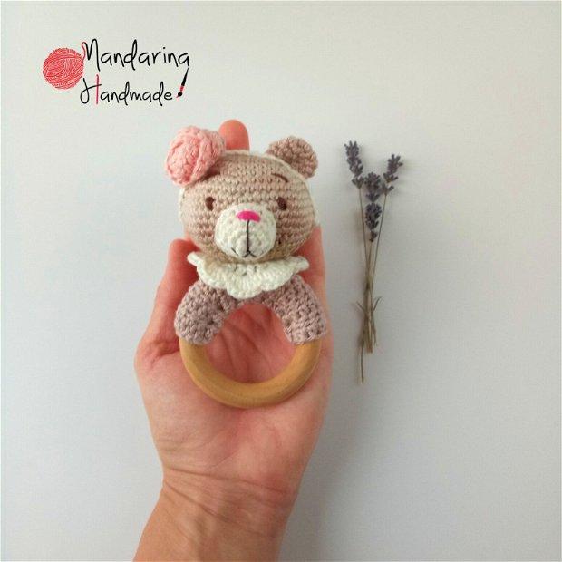 Jucărie croșetată dentiție ursuleț roz
