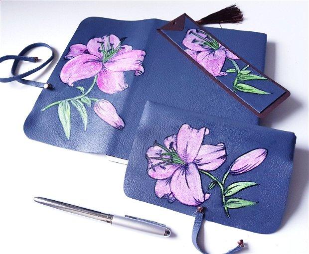 SET cu crin regal roz - piele naturală: jurnal, penar, stilou, semn de carte