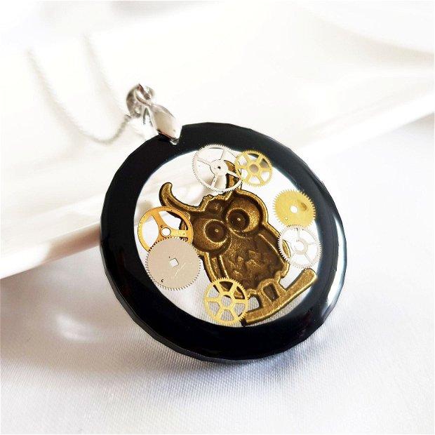 Lant Inox si pandantiv bufnita cu piese de ceas in rasina, bijuterie steampunk