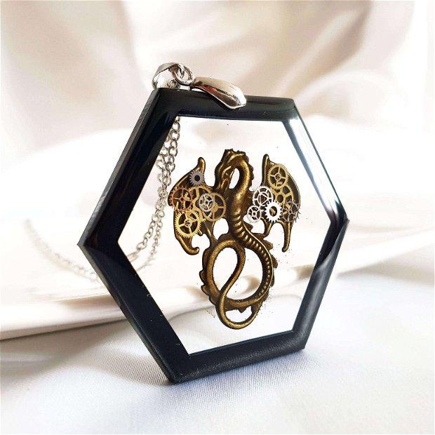 Pandantiv dragon cu piese de ceas si lant Otel Inoxidabil, game of thrones, bijuterii din rasina