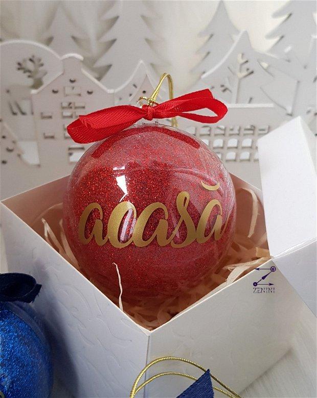 Glob cu mesaj, glob iubire, glob prietenie, glob familie, glob sclipici Craciun, glob ornament sclipici, ornament glitter, glob personalizat, glob cuvinte