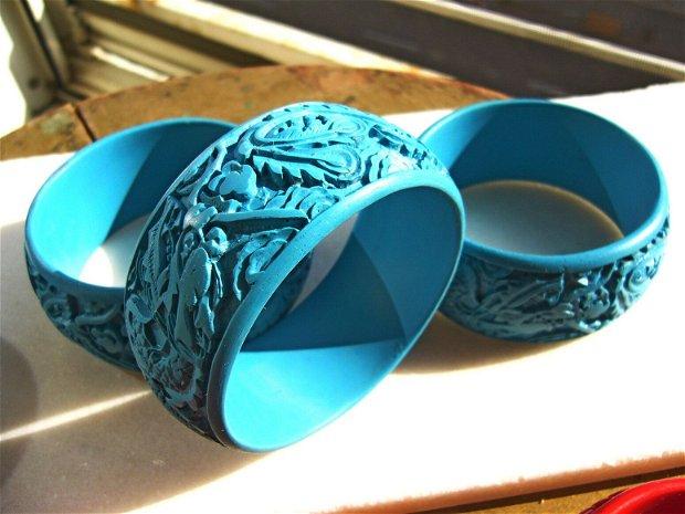 Bratara lata din pasta de coral turcoaz- gravata