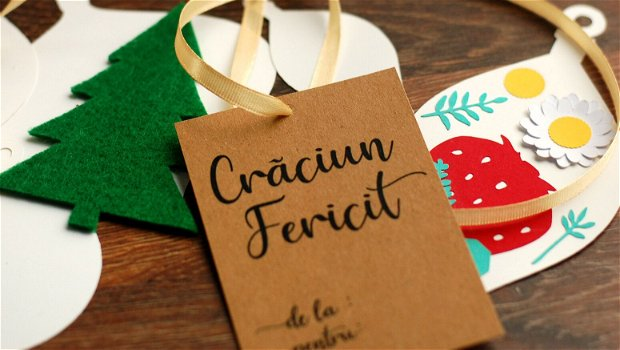 "Etichete ""Craciun Fericit "" - kraft - personalizabile - Set 25 buc"