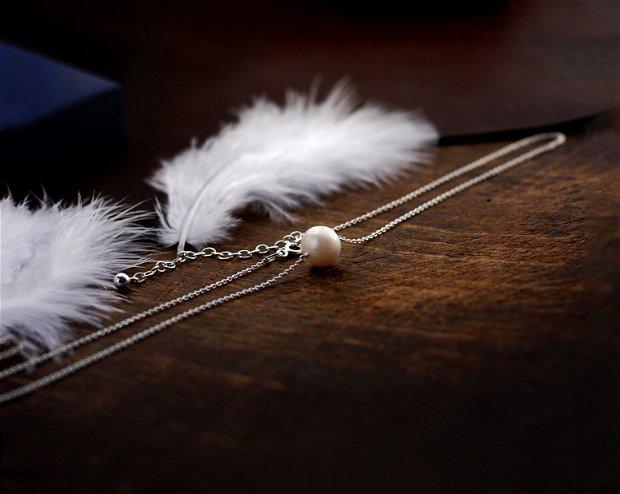 Colier din argint si perla de cultura,  cadou domnisoare de onoare, cadou aniversare / Craciun / 8 martie / Dragobete / Valentine's Day sotie / prietena