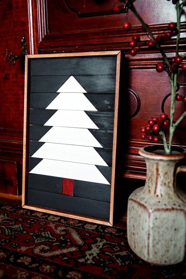 Brad de Craciun decorațiune iarna din lemn pentru perete sau raft, Tablou lemn