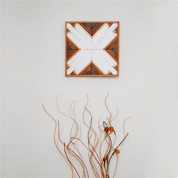 Decorațiune boho din lemn pentru perete sau raft, Tablou lemn